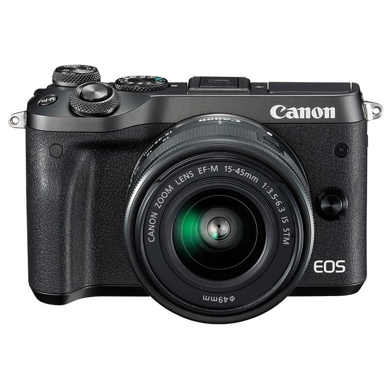 佳能/Canon EOS-M6 微单相机 55-200mm+15-45mm双镜头(128G+相机包+备用电池+UV镜+遮光罩+读卡器) 照相机