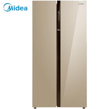 美的(Midea)521升 风冷无霜 纤薄机身对开门冰箱 时尚外观 节能静音 阳光米 BCD-521WKM(E) 电冰箱
