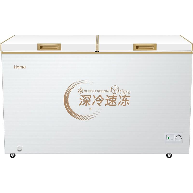 奥马(Homa) 318升双温冷柜冰柜 家用冷藏冷冻 卧式冷柜 深冷棕 BCD-318MF 电冰箱